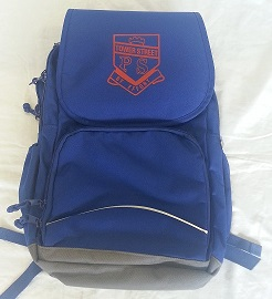 school bag with crest, front view